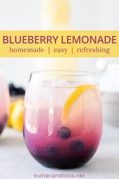 Blueberry Lemonade Recipes, Easy Lemonade Recipe, Homemade Lemonade, Alcoholic Drinks Juice, Fruity Alcohol Drinks, Beverages, Drinks With Grenadine, Sparkling Drinks, Refreshing Drinks