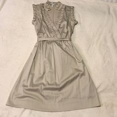 """Max & Cleo Dress Beautiful Tan Color Elegant/Casual Dress. 37"""" Long. Has a zipper on the left side and buttons up in cleavage area Max & Cleo Dresses"""