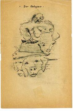 """""""Der Metzger"""", Zeichnung, 15,2 x 23,1 cm, Mischtechnik auf beige Papier, 600,- EURO, Anfragen an Werkeverwaltung Cazals, c/o Britta Kremke, b.kremke@kremke.de, Tel. 038722-227-14"""