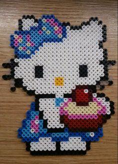 Hello kitty with cupcake hama perler beads by Sonja Ahacarne