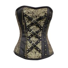 Gold Brocade Pattern Corset with Black Criss Cros Belt Detail