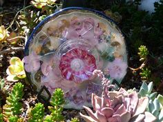 Drought Resistant Plate Flowers. #169.         Garden Yard Art glass and ceramic plate flower