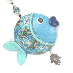 Wall decor fish of fortune ,lucky fish, Polymer clay handmade fish in blue, turquoise, green, white and silver