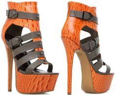 "The Studded Faux-Croc and Leather Platform ""Soji"" Dress Heels"
