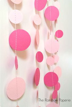 1m Pink Circles 1'' and 5/8'' Paper Garland by TheRainbowPaperie