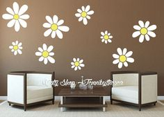 Personalized Name With Daisies Custom Vinyl Wall Decals Stickers - Custom vinyl wall decals for garage