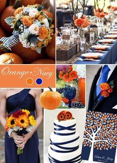 Talk about a perfect pair! Vibrant orange breathes life into traditional navy. This color combination makes a bold statement while keeping the brighter orange hue neatly grounded. Wedding Colors, Fall Wedding Ideas