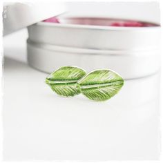 Petite Delicate Sterling Silver Leaf Studs with Translucent Green Resin. TIny Little Nature Studs Handmade Jewellery, Sterling Silver Jewelry, Studs, Bling, Green, Etsy, Color, Handmade Jewelry, Jewel