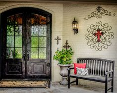 Traditional Classic Decoration Style Bringing Exotic Design Impression: Fabulous Mediterranean Entry Decor With Wooden Bench Southlake Resid...