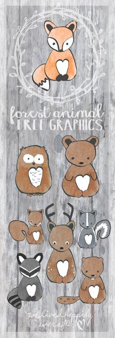 Free Forest Animal Free Graphics - owl, squirrel, deer, raccoon from ♥ Woodland Theme, Woodland Baby, Woodland Forest, Woodland Nursery, Forest Animals, Woodland Animals, Forest Animal Crafts, Woodland Creatures Nursery, Baby Mobile