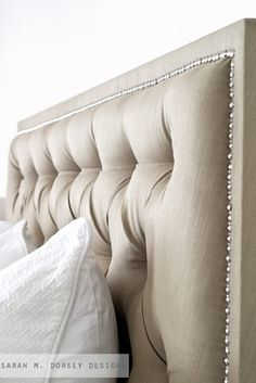 Another good tutorial on how to make a Tufted Headboard, Completely different approaches and both had great results! sarah m. dorsey designs: Tufted Headboard with Nailhead Decor, House Design, Headboards For Beds, Home Projects, Home, Bedroom Makeover, Home Bedroom, Bedroom Design, Tufted Headboard