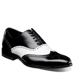 Stacy Adams Men's Stockwell Medium/Wide Memory Foam Wing Tip Oxford Shoes (Black/White Leather) - 15.0 M