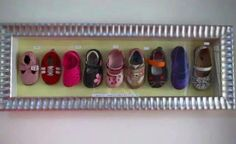 Save and frame baby shoes with age and events.