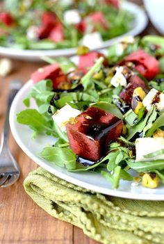 Watermelon, Feta, Basil and Pistachio Salad with Reduced Balsamic Vinaigrette