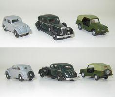 3 x mercedes-benz W150 mit Opel kadett und TRABANT Tramp 601 Kubel - 1:87 HO