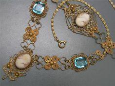 Vintage Art Deco Gold Gilt Filigree Cameo Glass Necklace Bracelet | eBay