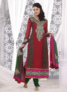 $73.98 Red Faux Georgette Thread Work Long Anarkali Salwar Kameez 23137