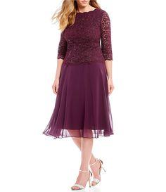 91ff500f25e9d Alex Evenings Plus Size Mock 2-Piece Lace Tea Length Dress