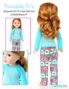 Liberty Jane Piccadilly PJs Doll Clothes Pattern For WellieWishers Dolls Girl Doll Clothes, Doll Clothes Patterns, Doll Patterns, Clothing Patterns, Sewing Patterns, Barbie Clothes, Ag Dolls, Girl Dolls, American Girl Wellie Wishers