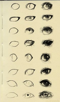 "Art drawing reference; different styles of drawing eyes; great for character design // ""Eyes reference 3"" by ryky.deviantart.com on #DeviantArt"