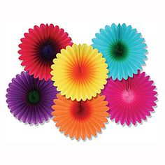 Our Retro Mini Flower Fans have the look of red, light blue, purple, orange, yellow and hot pink flowers. The mini flower fans measure 6 inches across, are made of paper cardstock.
