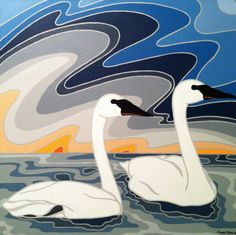 Everything With You Trumpeter Swan Original by summerbreeze. Serene and beautiful painting