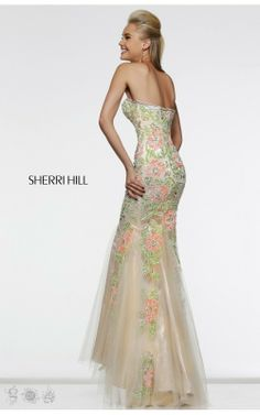Coral Nude Sherri Hill 1709 Open Back Prom Dress with Flower EmbroideryOutlet