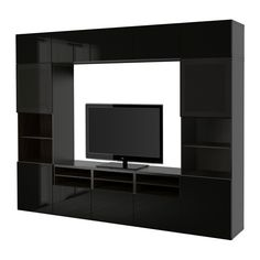 BESTÅ TV storage combination/glass doors - black-brown/Selsviken high-gloss/black smoked glass, drawer runner, soft-closing - IKEA