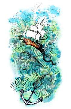 """Ship In Sea"" by Jaker93 ~ ship ~ watercolor art ~ watercolors - Finnick Odair and Peeta's Tatoo"