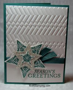 A shooting star. RnR Stamping, Bright and Beautiful, Zig Zag EF Christmas Card Crafts, Stampin Up Christmas, Christmas Star, Holiday Cards, Christmas Ideas, Stampin Up Many Merry Stars, Star Cards, Winter Cards, Anniversary Cards