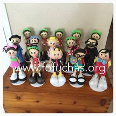 characters from La vecindad del Chavo fofucha style. lovely centerpieces for El chavo theme birthday. email me to order @ info@fofuchas.org #Birthday #ElChavo #Fofuchas