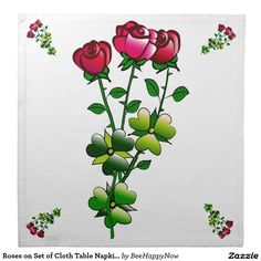 Roses on Set of Cloth Table Napkins (Set of