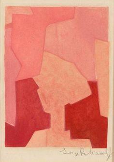 SERGE POLIAKOFF COMPOSITION ROSE, 1964 Planche tirée de l'ouvrage intitulée
