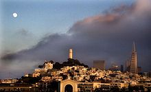 "Coit Tower - Wikipedia, the free encyclopedia  ""A view of Telegraph Hill from a boat in the San Francisco Bay."""