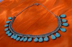 Teardrop Turquoise Necklace, Statement Necklace, bib necklace, choker