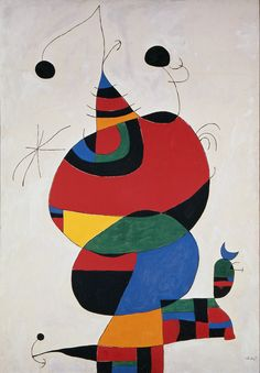 Woman, Bird, and Star (Homage to Picasso), Miro. Miro was a painter who combined abstract art with surrealist fantasy. Pablo Picasso, Joan Miro Paintings, Seattle Art Museum, Spanish Painters, Modern Wall Art, Art Plastique, Abstract Expressionism, Online Art, Art Lessons