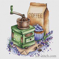 Кофемолка с лавандой   SA-stitch