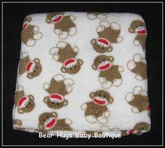 Sock Monkey Baby Starters Baby Blanket. #baby #blanket #monkey
