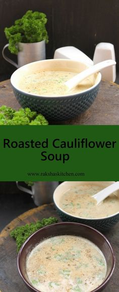 Roasted Cauliflower Soup  Healthy soup made with roasted cauliflower. It's delicious. #soup #recipe #cauliflower #vegetarian #roasted #allthingssoup #soupy #tasty