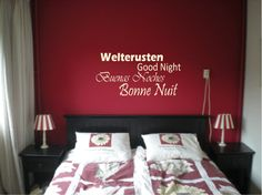 Find images and videos about red, design and bedroom on We Heart It - the app to get lost in what you love. Interior Wall Colors, Interior Walls, Wall Quotes, Good Company, Good Night, Furniture, Design, Home Decor, Bedroom Inspiration