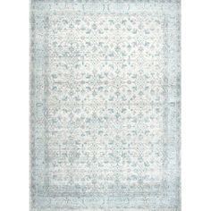 Bring classic beauty into your home with the nuLOOM Bodrum Vintage Lindy Area Rug. The elegant, Persian-inspired floor covering has an ornate botanical pattern in aqua, with a chic distressed appearance that creates the illusion of a vintage heirloom rug. Bungalow Living Rooms, Rugs In Living Room, Aqua Area Rug, Area Rugs, Beach Condo Decor, Condo Decorating, Decorating Ideas, Multifunctional Furniture, Machine Made Rugs