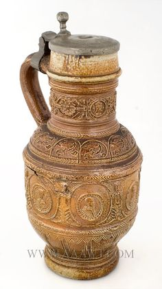 Raeren Pewter Mounted Brown Salt Glaze Stoneware Jug Late 16th or Early 17th…