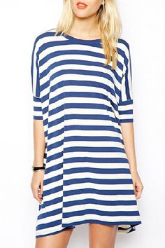Blue and white  Striped Shirt Dress - great nautical feel