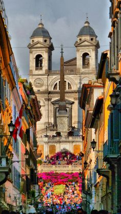 "The colorful and steep ""Spanish Steps"" ~ between the Piazza di Spagna at the base and Piazza Trinita dei Monti, Rome, Italy"