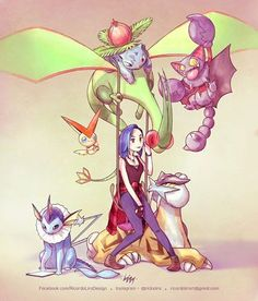 Bec Fenton and her Pokémon team. Work for the trainer @skairic COMMISSIONS…