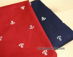 Red Navy Blue Cotton Fabric With White Embroidery by fabricmade, $5.20