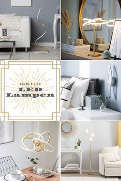 Dank der Beleuchtung kann die Stimmung einer Raumes bestimmt werden. Die LED-Lampen haben viel Potenzial - sie können in jedem Wohnbereich eingesetzt werden und strahlen immer eine edle Ausstrahlung aus. Das glänzende Finish und die schlanke, elegante Form garantieren einen Wow-Effekt. Sie können sie mit verschiedenen Einrichtungen und Stilen mischen und so einen sehr individuellen Look kreieren. Sofas, Designer, Table, Furniture, Home Decor, Be Creative, Beams, Mood, Living Area