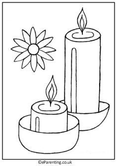 Free printable Diwali Colouring Pictures, with rangolis, diya (clay lamps) and candles. A really fun way to celebrate Diwali! Diwali For Kids, Diwali Craft, Diwali Rangoli, Easy Love Drawings, Art Drawings For Kids, Drawing Pics, Drawing Ideas, Printable Coloring Pages, Colouring Pages