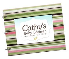 Baby Shower Guest Book Pink, Brown and Green Stripes-Ordered this. THE BABY SHOWER GUEST BOOK INCLUDES: • Our Special Day (1 Page) • Moments to Remember (1 Page) • 20 Guests Sheets (120 Guests Total with an option to add more) Each guest spot includes: A Wish, advice, baby name suggestions, address, e-mail, gift listing, guest signature and a little baby doodle option. • White Keepsake Envelope (End of book - for the invitation or anything else you would like to keep!).
