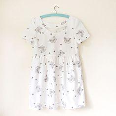 Handmade kitty dress  white  short sleeve baby by helloharriet